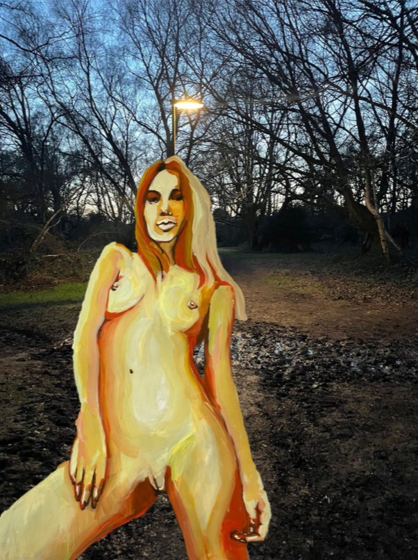 Painting of a naked woman overlaid onto a photograph of woodland