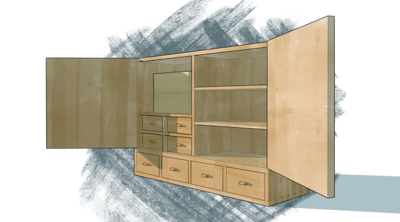 render of a wooden cabinet