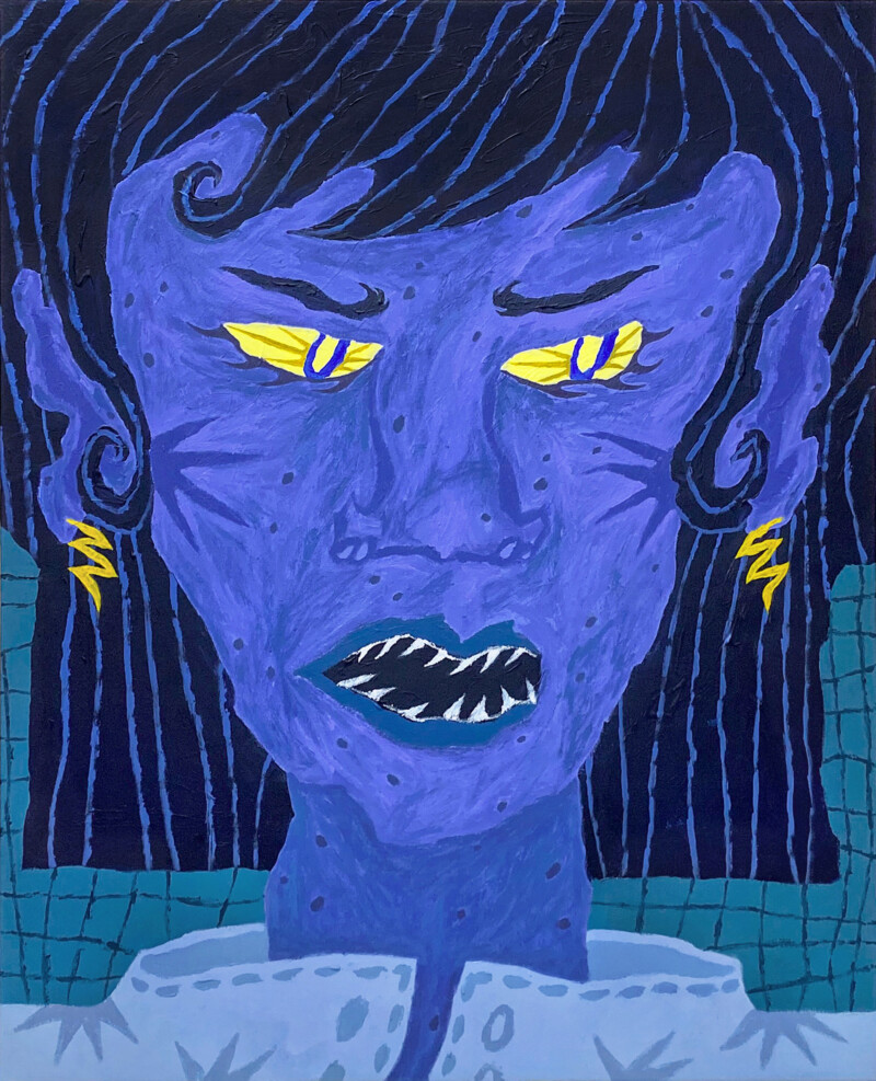 illustration of a purple person with yellow eyes and sharp teeth