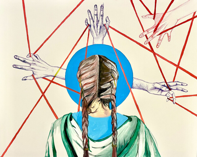 Painting of the back of a person who has two long plaits. Hands are painted in the background, with red lines painted between them like string wrapped through fingers.