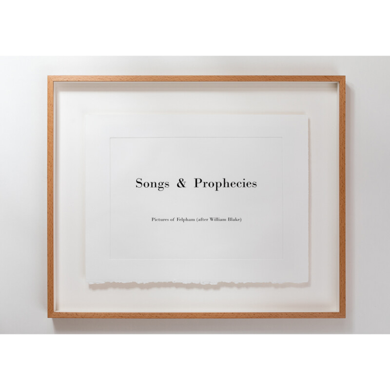 Title of online photography exhibition called 'Songs & Prophecies' - the title is framed in a picture frame.