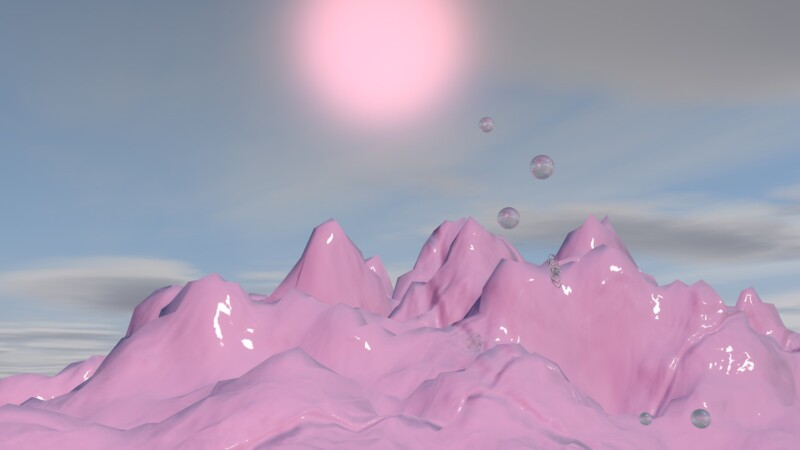 purple mountain infront of pink sun and blue sky