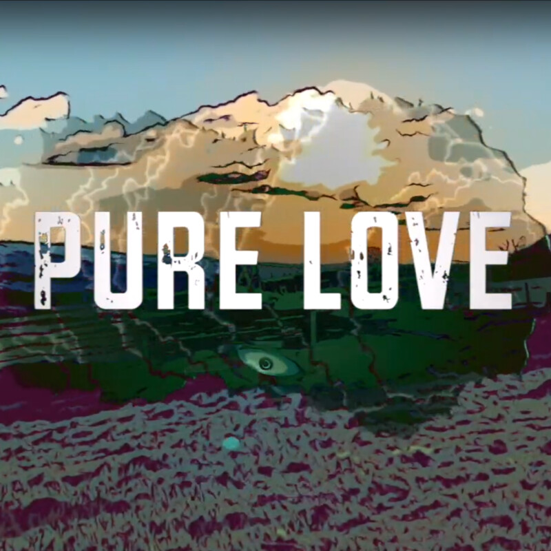 Pure Love logo over stylised field