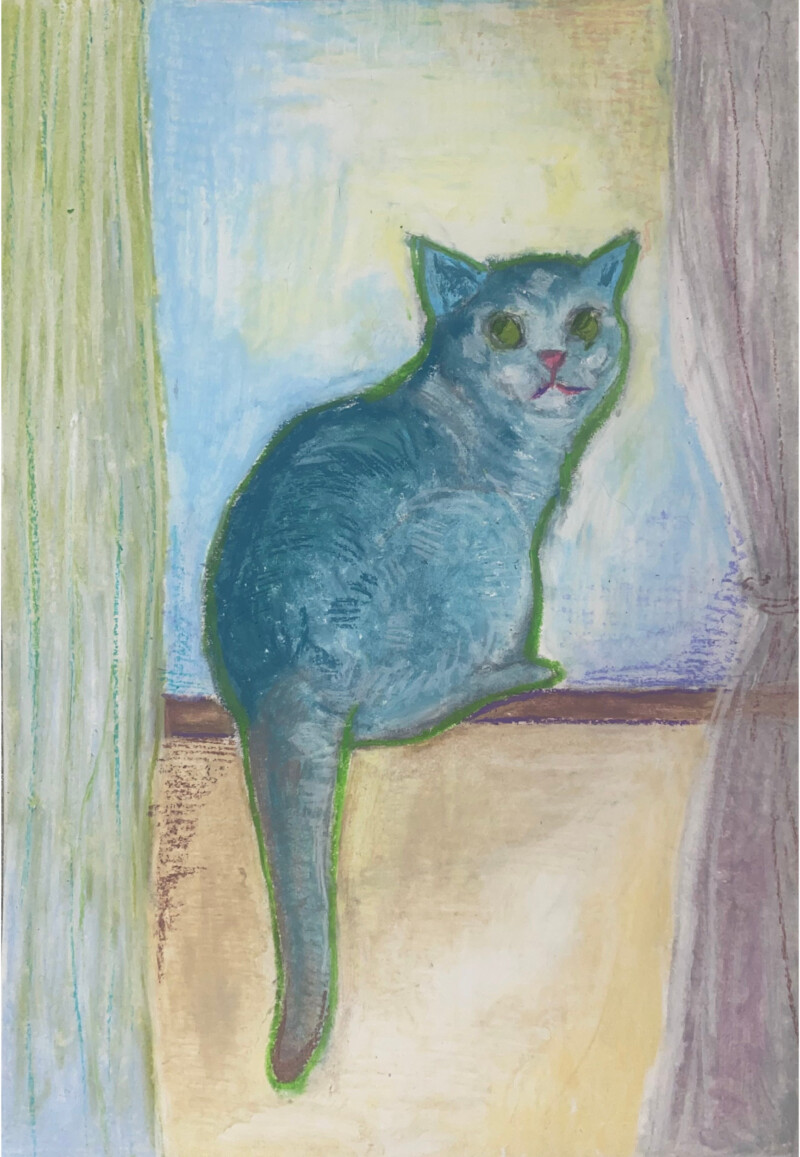 painting of a cat on a ledge