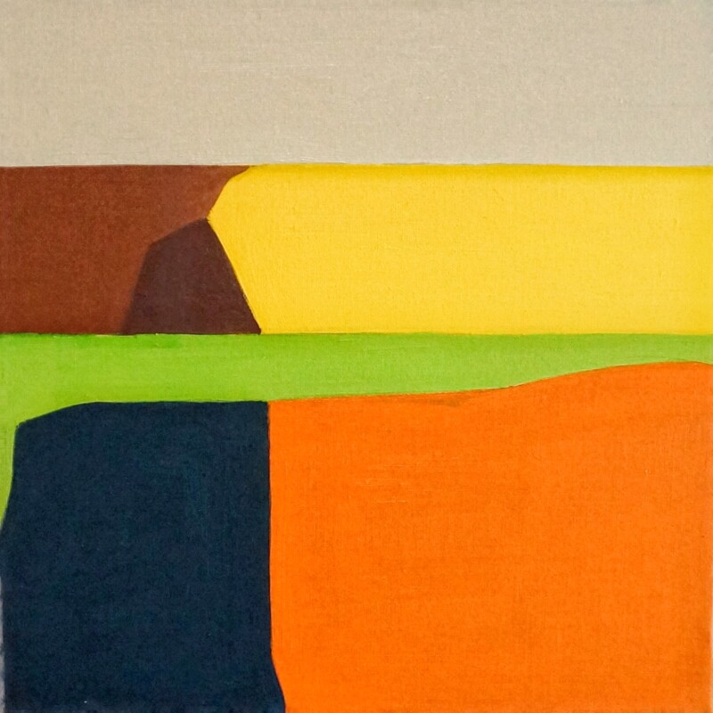 blocks of orange blue green and brown colour