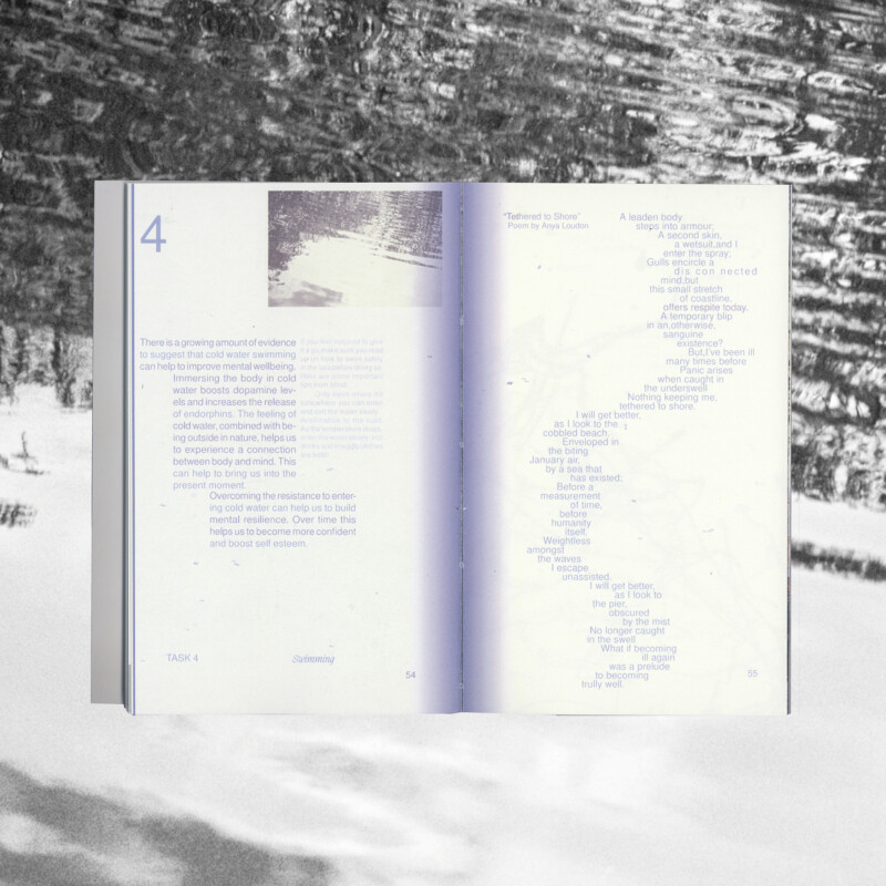 An open book with text formatted into an unusual shape, overlaid onto a photograph of water.