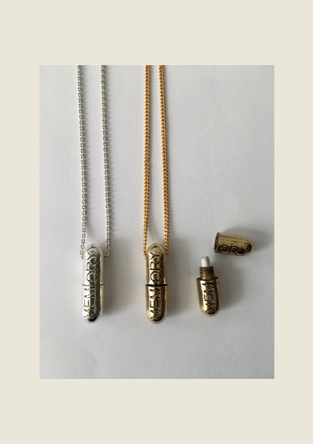 pill memory necklaces in gold and silver